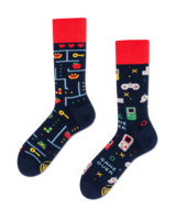 Hardware und Software! Gamer-Socken in blau - rot